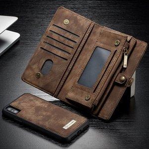CaseMe Bruine multifunctioneel wallet hoesje iPhone 10 echt Split leer