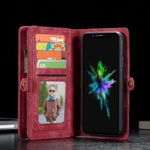 CaseMe Rode multifunctioneel wallet hoesje iPhone 10 echt Split leer