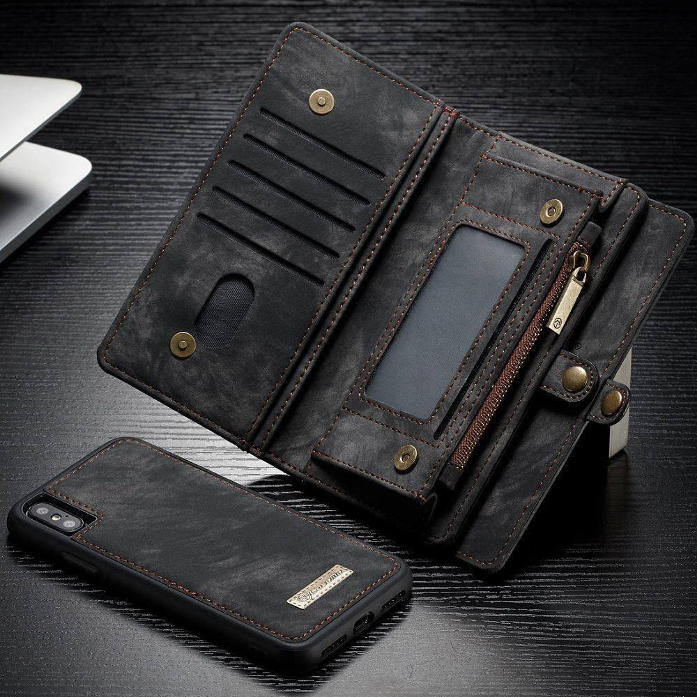 CaseMe Zwarte multifunctioneel wallet hoesje iPhone 10 echt Split leer