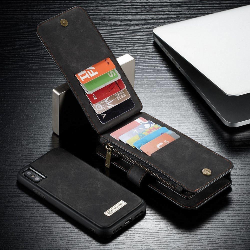 CaseMe 14 vaks 2 in 1 zwarte wallet hoesje iPhone X  echt Split leer