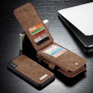 CaseMe 14 vaks 2 in 1 bruine wallet hoesje iPhone X  echt Split leer