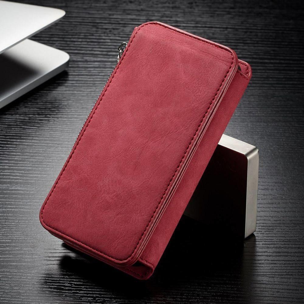 CaseMe 14 vaks 2 in 1 rode wallet hoesje iPhone X  echt Split leer