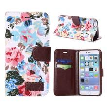 Jeans bloemetjes iPhone 6 Plus portemonnee hoesje