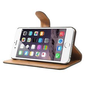 Zwart pu lederen iPhone 6 plus portemonnee hoes