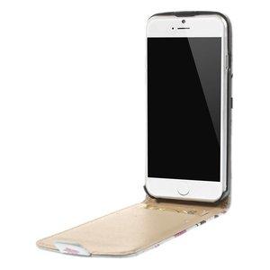Paarse lotusbloem Lederen iPhone 6 Flipcase
