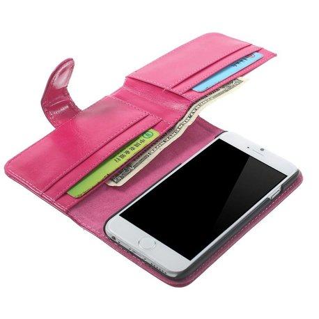 Roze Leren Portemonnee.Roze Lederen Iphone 6 Portemonnee Hoes