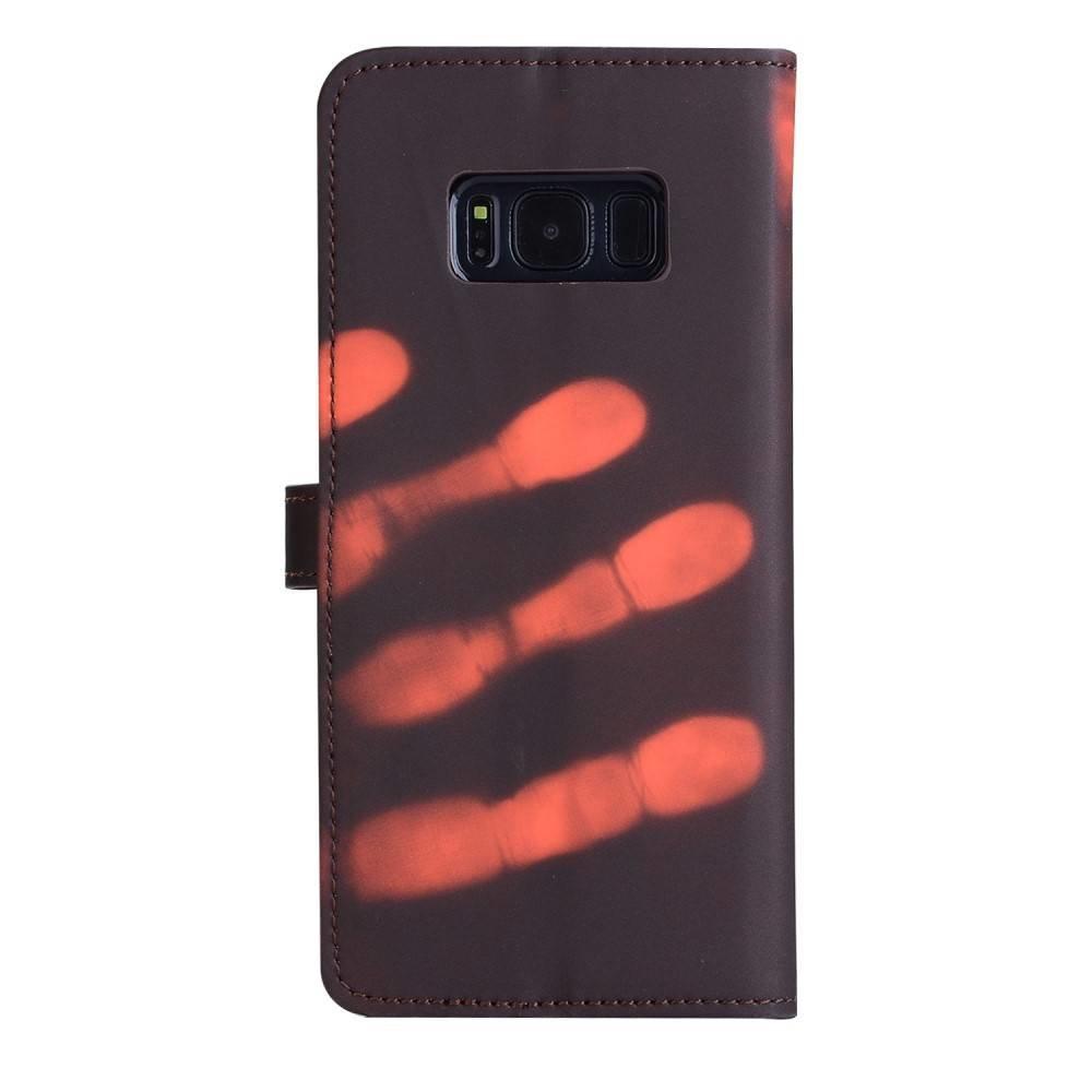 Thermo portemonnee  hoesje Samsung galaxy S8 PLUS Bruin wordt oranje bij warmte