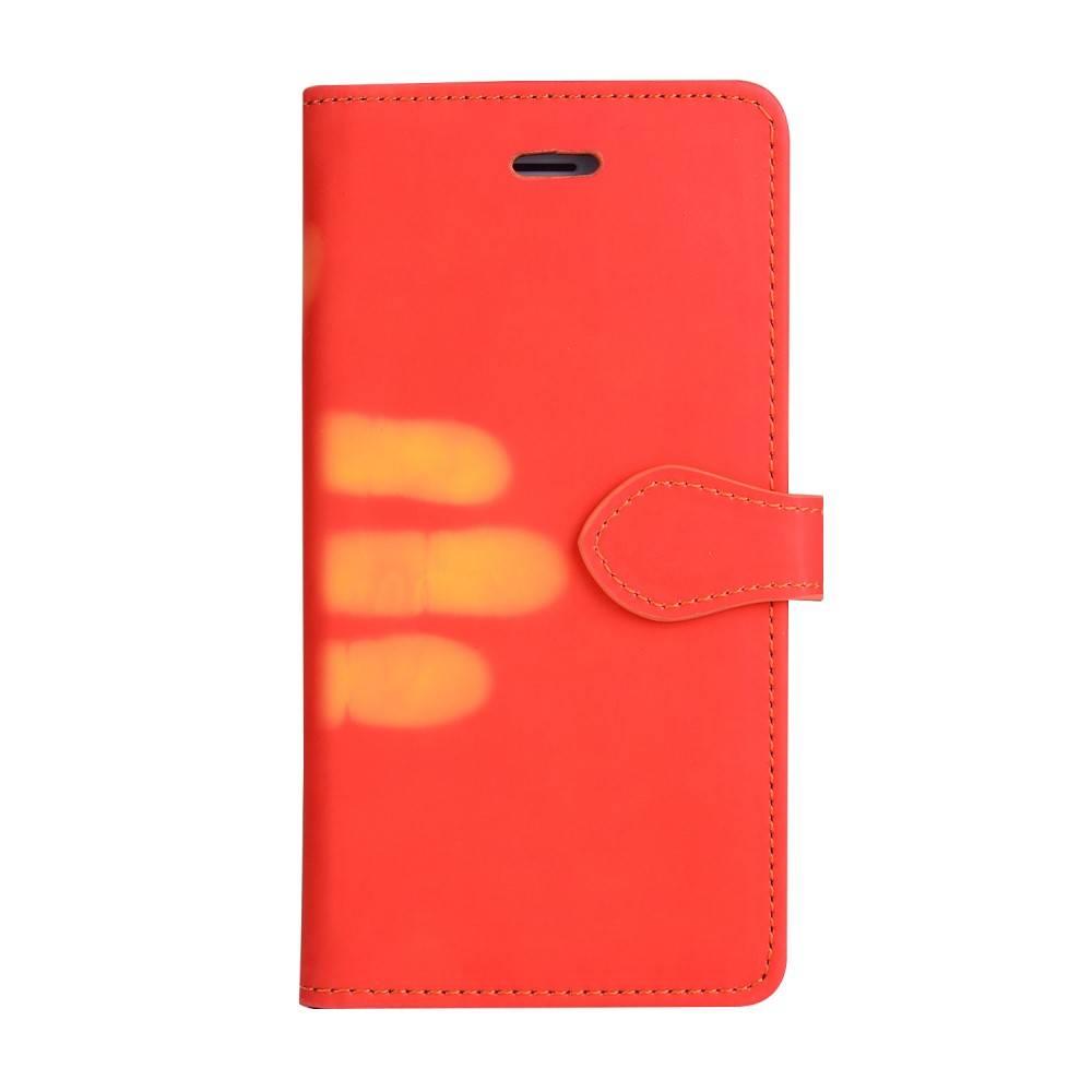 Thermo portemonnee hoesje iPhone 7 PLUS en iPhone 8 PLUS Rood wordt geel bij war