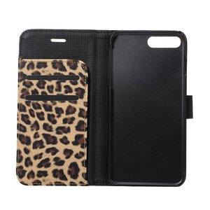 Portemonnee hoesje met Luipaard print bruin iPhone 7  PLUS en de iPhone 8 PLUS