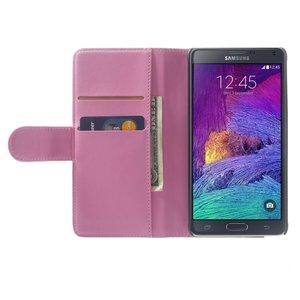Roze pu lederen Galaxy Note 4 portemonnee hoes