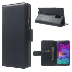 Blauw pu lederen Galaxy Note 4 portemonnee hoes