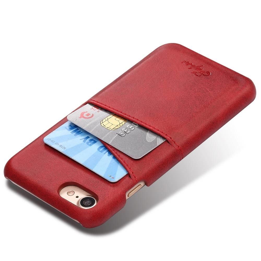 Suteni Rode harde met pu leer bekleed iPhone 7 en 8  hoesje met ruimte voor 2 pasjes