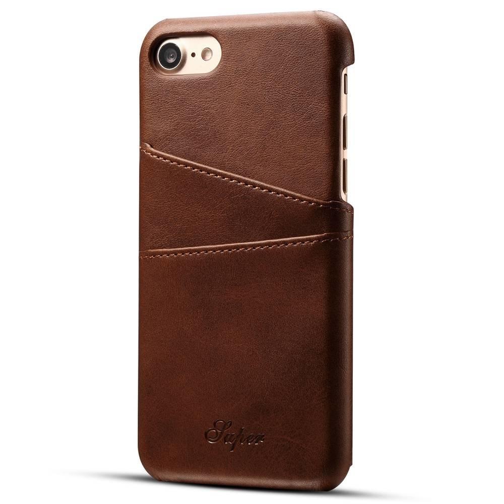 Suteni Donker bruine harde met pu leer bekleed iPhone 7 en 8  hoesje met ruimte voor 2 pasjes