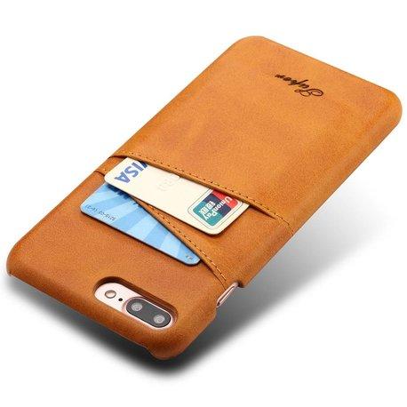 Suteni Bruine harde met pu leer bekleed iPhone 7 PLUS en 8 PLUS  hoesje met ruimte voor 2 pasjes