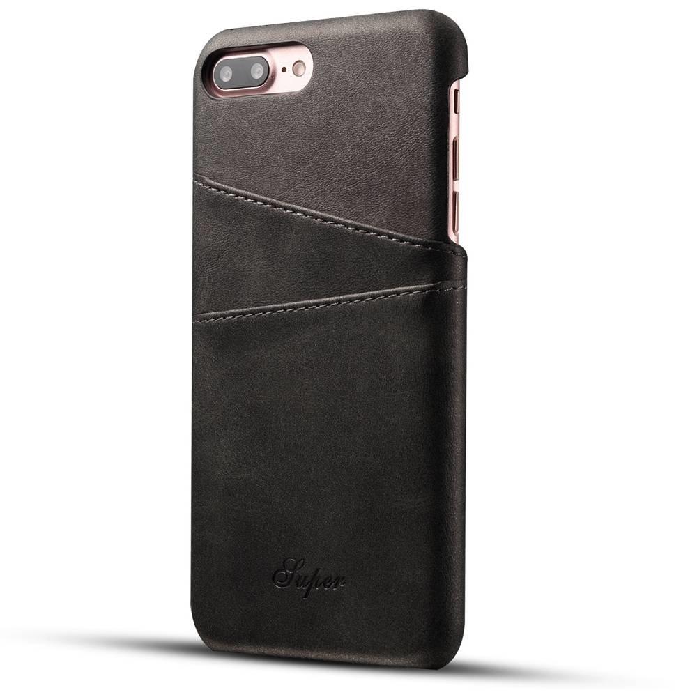 Suteni Zwarte harde met pu leer bekleed iPhone 7 PLUS en 8 PLUS  hoesje met ruimte voor 2 pasjes