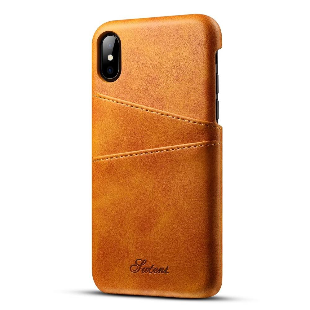 Suteni Bruine harde met pu leer bekleed iPhone X  hoesje met ruimte voor 2 pasjes