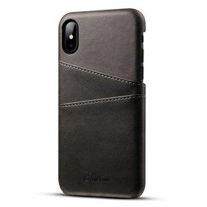 Suteni Zwarte harde met pu leer bekleed iPhone X  hoesje met ruimte voor 2 pasjes