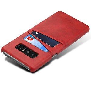 Suteni Rode harde met pu leer bekleed Galaxy Note 8  hoesje met ruimte voor 2 pasjes