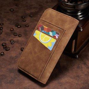 Bruin kunstleren iPhone X portemonnee hoesje met los te maken case
