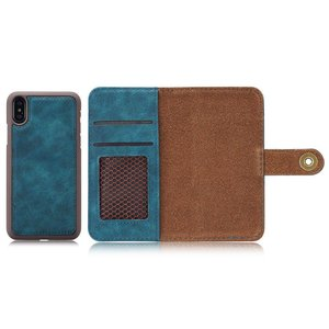 Blauw kunstleren iPhone X portemonnee hoesje met los te maken case