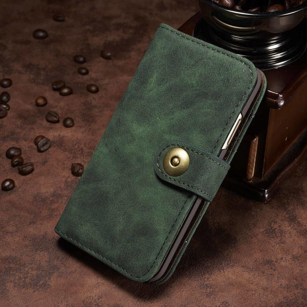 Groen kunstleren iPhone X portemonnee hoesje met los te maken case