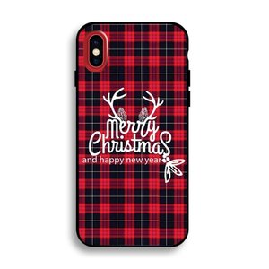 iPhone X flexibel hoesje  Merry Christmas  motief geruit