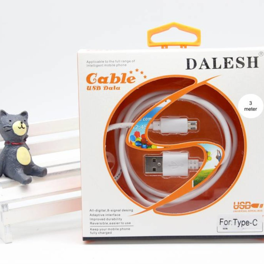 Dalesh USB-C kabel wit 2 of 3 meter extra strong