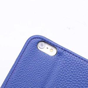 Blauw pu lederen iPhone 6 plus portemonnee hoes