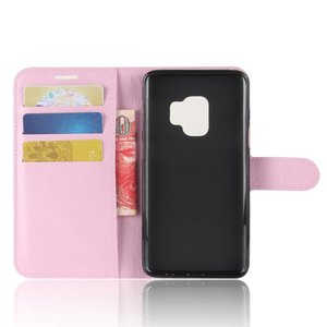 Roze kunstlederen Samsung galaxy S9 hoesje