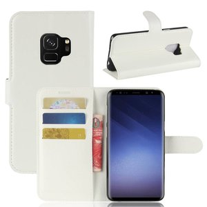 Witte kunstlederen Samsung galaxy S9 hoesje