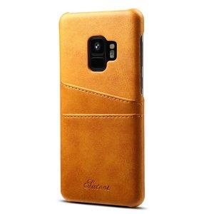 Suteni Bruine harde met pu leer bekleed Galaxy S9 hoesje met ruimte voor 2 pasjes