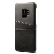 Suteni Zwarte harde met pu leer bekleed Galaxy S9  hoesje met ruimte voor 2 pasjes