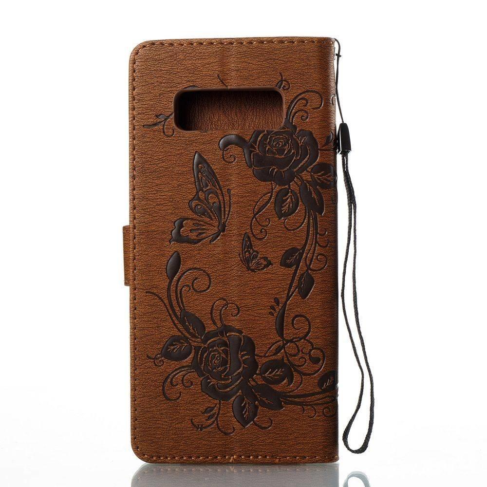 Bruine met glimmertjes afgewerkt Samsung Note 8 boekhoesje