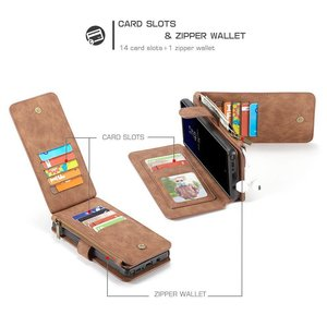 CaseMe 14 vaks 2 in 1 wallet hoesje Samsung Galaxy note 8 echt Split leer