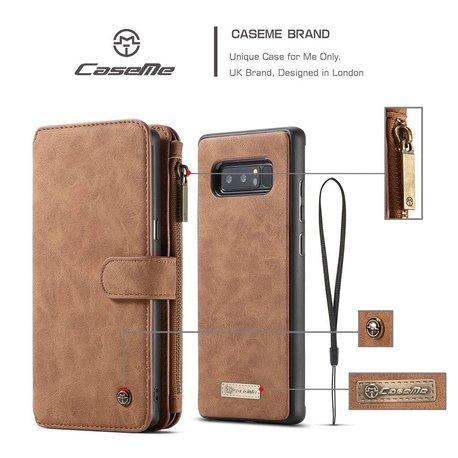 CaseMe 14 vaks 2 in 1 wallet hoesje Samsung Galaxy note 8 echt Split leer