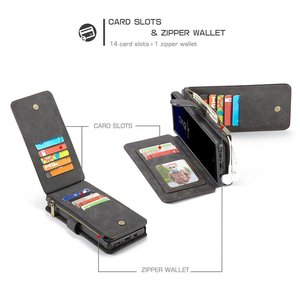 CaseMe Zwarte 14 vaks 2 in 1 wallet hoesje Samsung Galaxy note 8 echt Split leer