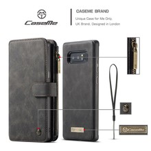 CaseMe Zwarte 14 vaks 2 in 1 wallet hoesje Samsung Note 8 echt Split leer