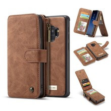 CaseMe 14 vaks 2 in 1 wallet hoesje Samsung S9 PLUS echt Split leer