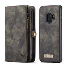 CaseMe Zwarte multifunctioneel wallet hoesje Samsung S9 PLUS echt Split leer