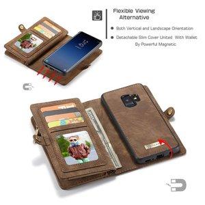CaseMe Bruine multifunctioneel wallet hoesje Samsung S9 PLUS echt Split leer
