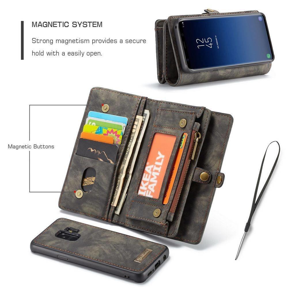 CaseMe Zwarte multifunctioneel wallet hoesje Samsung S9 echt Split leer