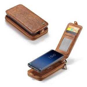 CaseMe Bruine flip case  wallet hoesje Samsung S9 TPU leer