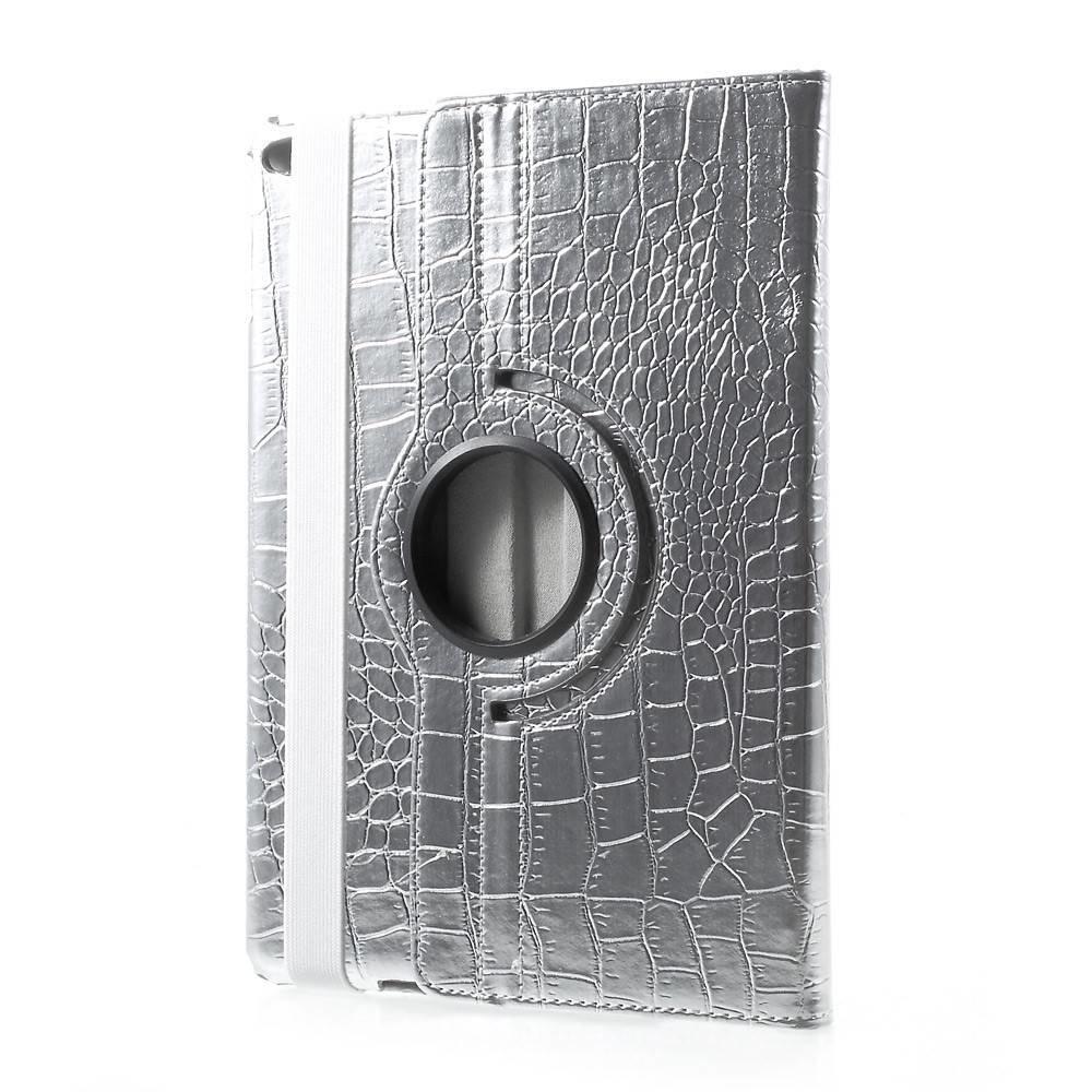 iPad hoes 360 roteerbaar kunstleder zilver