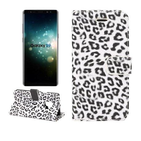 Witte Luipaard print Samsung Galaxy S9 portemonnee hoesje