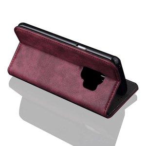 Wijn rode luxe afgewerkt Samsung S9 portemonnee hoesje