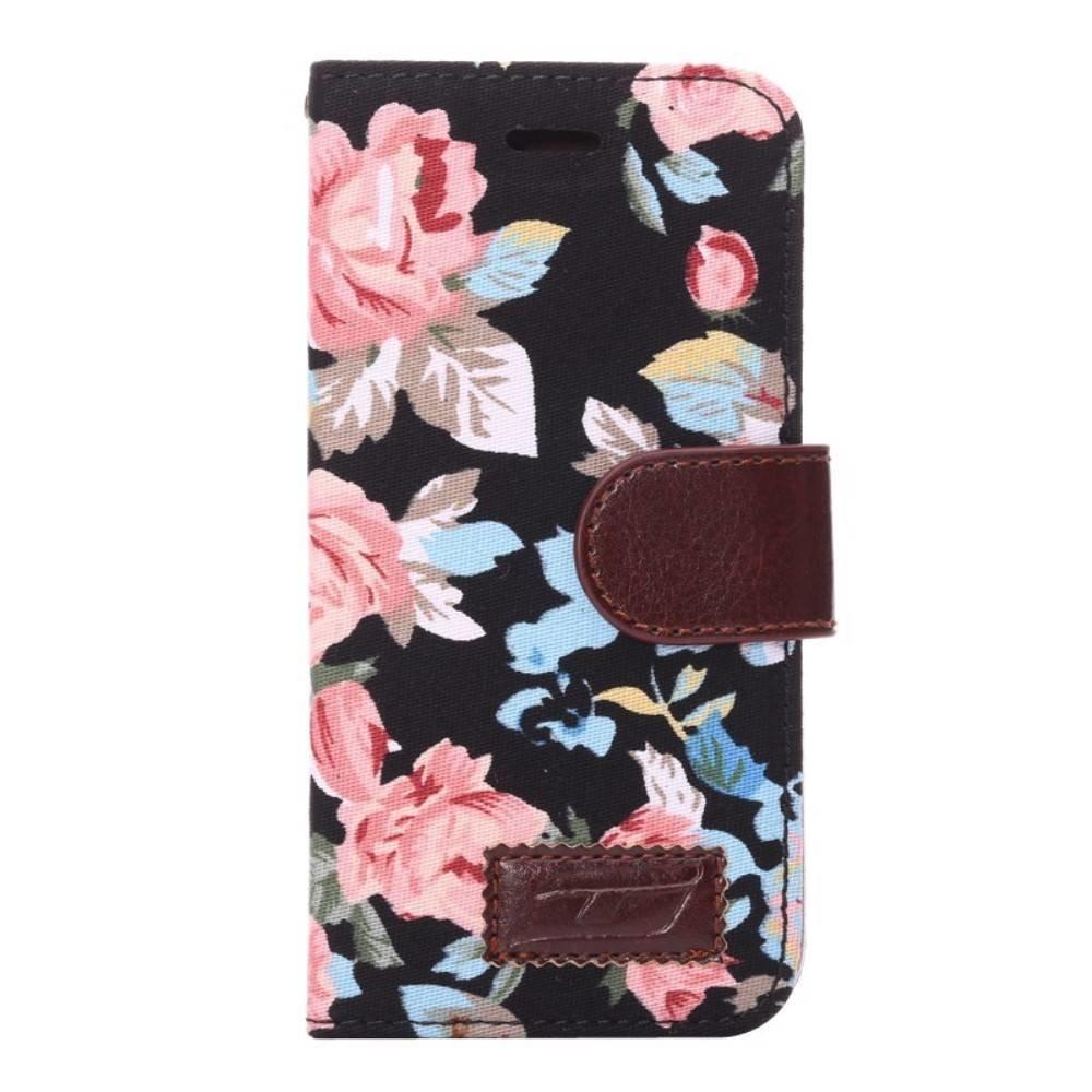 Jeans bloemetjes iPhone 6 portemonnee hoesje