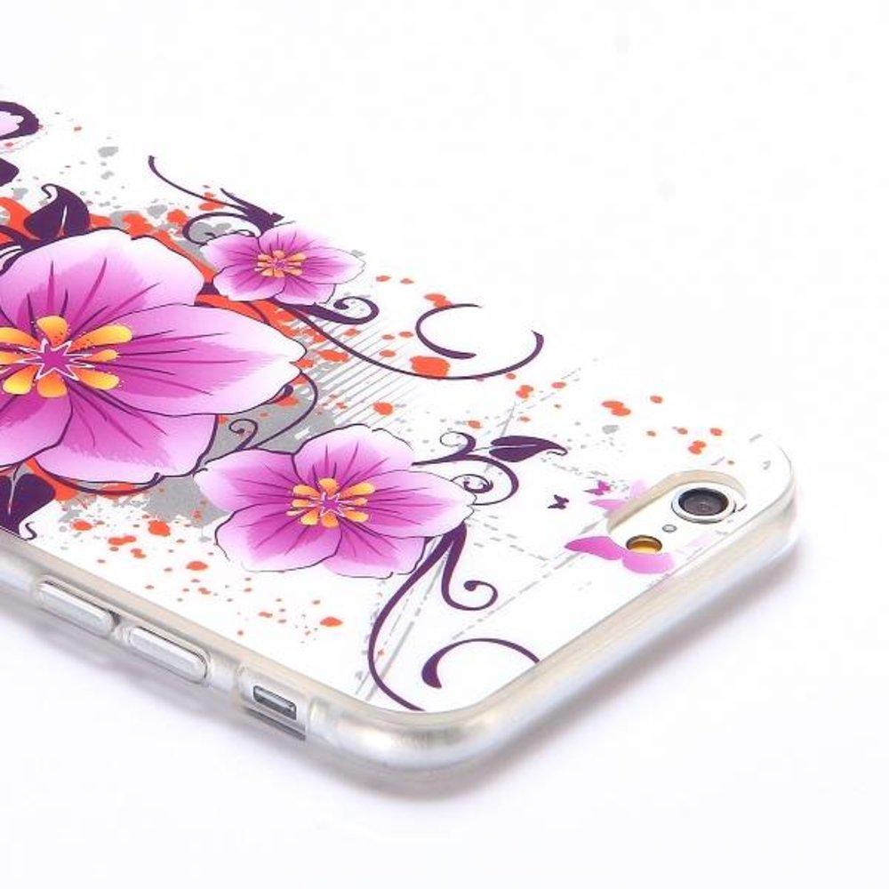 Paarse bloem en vlinder iPhone 6 TPU hoes