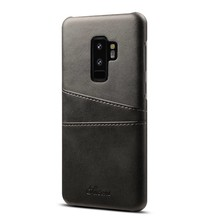 Suteni Zwarte harde met pu leer bekleed Galaxy S9 PLUS  hoesje met ruimte voor 2 pasjes