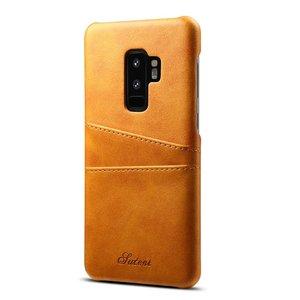 Suteni Bruine harde met pu leer bekleed Galaxy S9+ hoesje met ruimte voor 2 pasjes