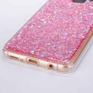 Roze glitter (sequin). samsung galaxy S9 flex hoesje